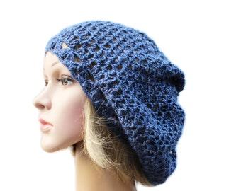 Women Hat Crochet Hat Slouchy Beanie Spring Hat Summer Hat Crochet beret  Women Accessories Girlfriend Gift for Women blue Crocheting