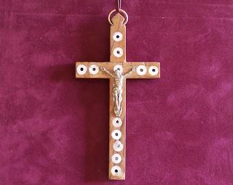 Jerusalem pilgrim's crucifix mother of Pearl, brass and wood 1920 vintage