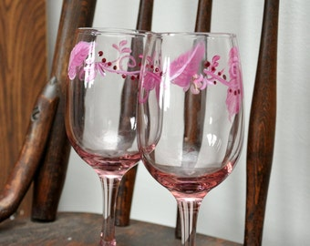 Hand Painted 10oz. pink wine glasses/scrolls and dots