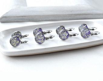 SALE Flower earrings Purple earrings for gift women Botanical jewelry Resin jewelry Dried flower earrings Natural jewelry for gift for women
