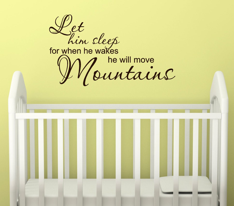 Let Him Sleep vinyl wall decal nursery decor wall quote for
