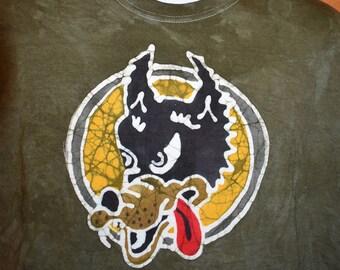 Jerry Garcia Wolf Handmade Batik Grateful Dead T-shirt