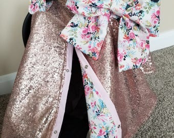 Carseat Canopy Carseat Cover Elegant Rose Gold Sequin Floral Cover with Large bow nursing cover carseat canopy car seat cover