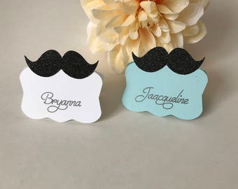 Mustache Place Cards, Baby Shower Place Cards, Little Man Place Cards, Baby Boy Place Cards, Personalized Place Cards, Custom Place Cards