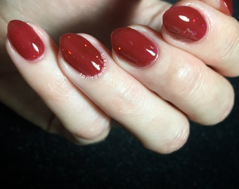 Mudblood - Custom Handcrafted Harry Potter inspired red jelly holographic glitter nail polish