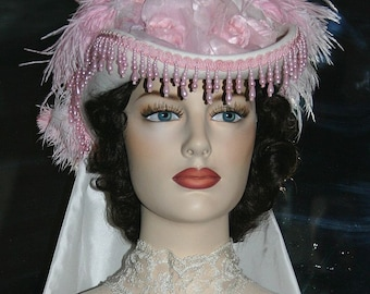 Victorian Hat, SASS Hat, Tea Party Hat, Wedding Hat, Kentucky Derby Hat, Pink & Ivory Hat, Cocktail Hat - Spirit of Baton Rouge