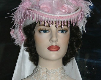 Kentucky Derby Hat SASS Hat Victorian Hat Tea Party Hat Wedding Hat Pink and White Hat Women's Pink & Ivory Hat - Spirit of Baton Rouge