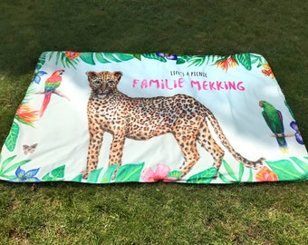 Picnic dress with name-personalised-waterproof-watercolor-animals-panther-zebra-lion-tropical plants-190x120 cm