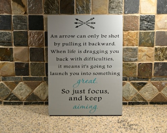 Unique Graduation Gift, Arrow...just focus and keep aiming, Inspirational quote, Friendship Gift, Gift for friend, Inspirational Gift,
