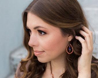 Blue Drop Earrings, Brown Goldstone, Handmade Gemstone Jewelry