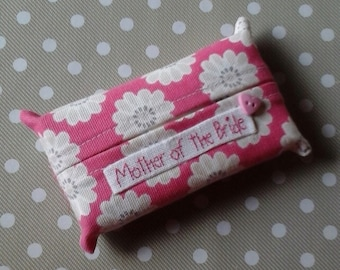 Mother of the Bride Pink Tissue Holder -Pocket Sized Travel
