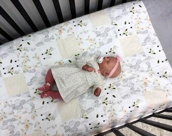 Cactus Llama Baby Girl Quilt, Llama Crib Quilt, Peach Grey Southwestern Quilt