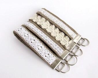 Lace keychain, Burlap key fob, Fabric key chain, Wristlet strap keychain, Rustic wedding, Bridal gift, Burlap and lace, White lace keychain