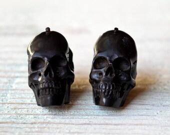 Skull Post Earrings Handmade Black Wood Hoop Earrings Tribal Style - Gauges Plugs Wood - PE030 DW