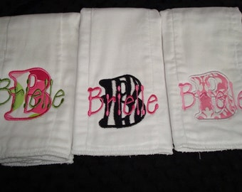 Brielle Personalized Burp Cloths - Your choice of fabric and a name
