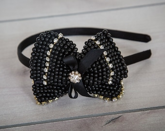 Black Headband, Wedding Headband, Girls Headbands, Stylish Headband, Dressy Headband, Black Tiara, Headbands Girls