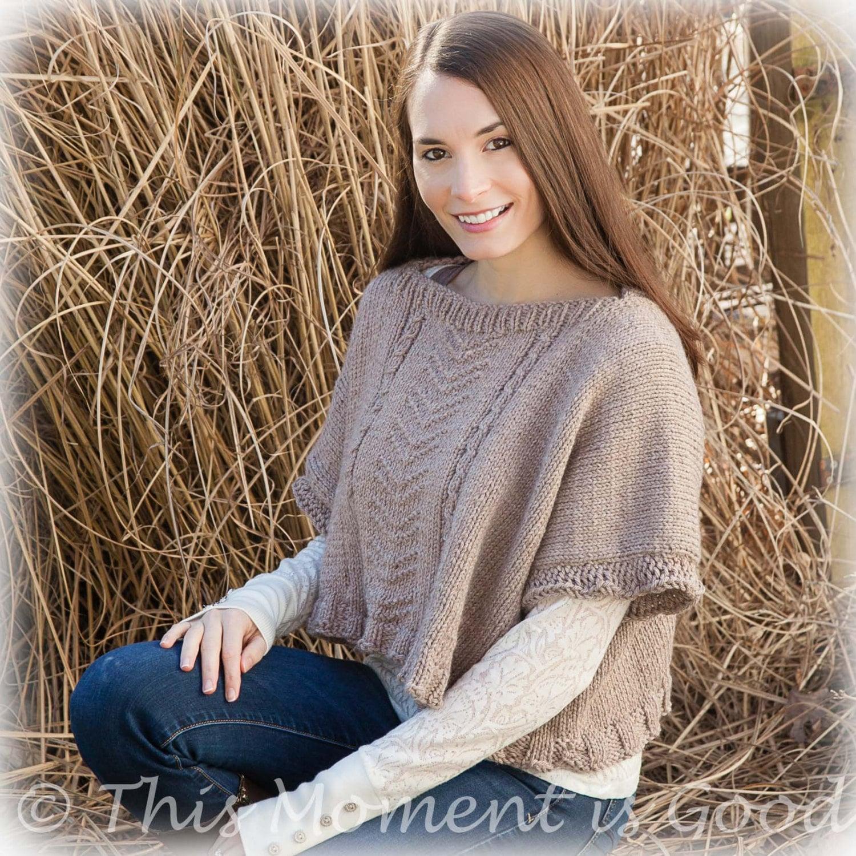 Loom Knit poncho PATTERN. Loom Knit Ladies Poncho Topper