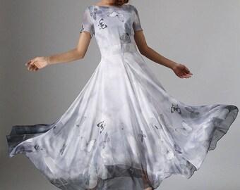 butterfly dress, chiffon maxi dress, long dress, chiffon wedding dress, fit and flare dress, ladies dresses, prom dress, grey dress 964
