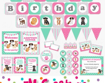 Puppy Birthday Party Printable Decorations - Dog Birthday Party - Puppy Adoption Party Printables - Banner Cupcake Toppers  INSTANT DOWNLOAD