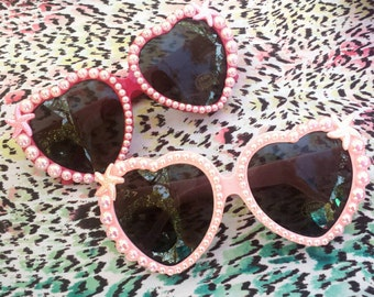 Pink Mermaid Heart Sunglasses - Starfish & Pearl Pastel Sunnies