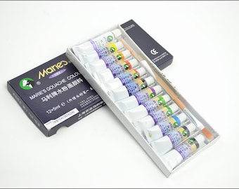 Free Shipping Chinese Calligraphy Material  5ml Marie's Gouache Paints Chinese Painting Color - 12 Colors - 0002