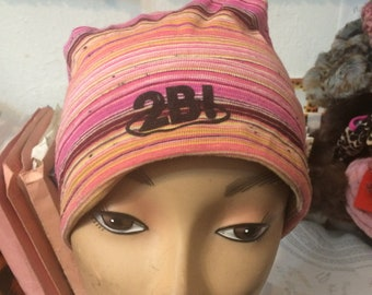 Vintage 2B! East Village Bohemian Pink Striped Cotton Beanie Fits up to Size XL