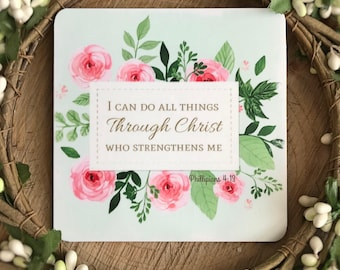 Wooden Bible Verse Sign, I can do all things through Christ wooden magnet, small Bible verse sign, Philippians 4:13 sign, Religious gifts