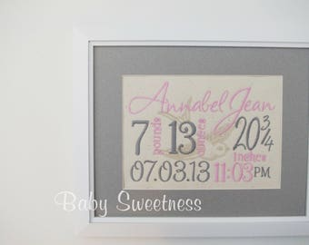 New Mother Gift - Embroidered Birth Announcement - Pink Grey Bird Canvas - Birth Statistics - Bird Nursery Decor - Framed Birth Record 8X10