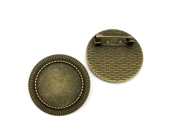 2 brooch base setting tray , fits 20mm cabochons  , #FIN 021