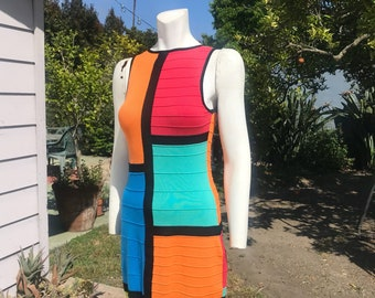 Vintage Knit Color Block Sleeveless Mini Dress Red Orange Black Turquoise Green S