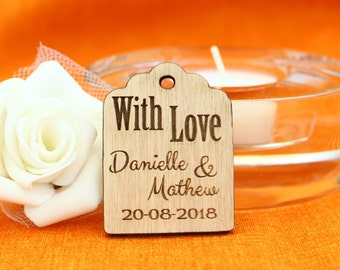 Wood Thank you tags, Custom wedding favour, Rustic Thank you tags, Gift tags, Wedding decor, Engraved Thank you cards