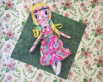 "Vintage inspired rag doll.   14 1/2"" tall"