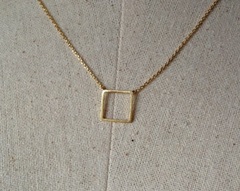 Gold Square Necklace, 14k Gold plated, Dainty Necklace