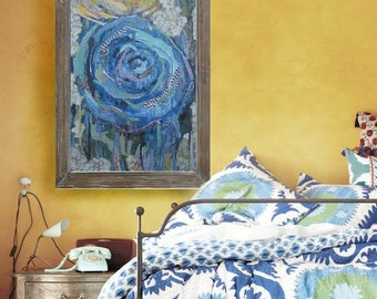 Blue Rose. Cardstock or Wrapped Canvas. professional art print - many sizes available. Mixed media collage with yellow.
