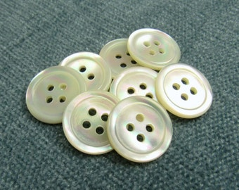 "Ocean Sunset: 3/4"" (19mm) Ocean Pearl Buttons - Set of 8 New / Unused Vintage Buttons"
