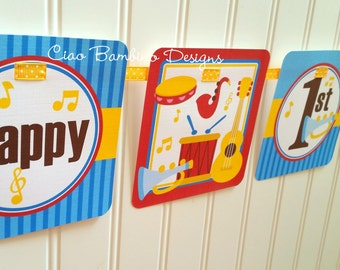 Music Party Happy Birthday Banner / Includes Name and Age / Red, Blue and Yellow / Kids Music Party