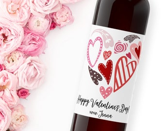 happy valentine's day wine label / be mine / galentine's day / holiday party favor / hearts / xoxo / valentine gift / WLH-28