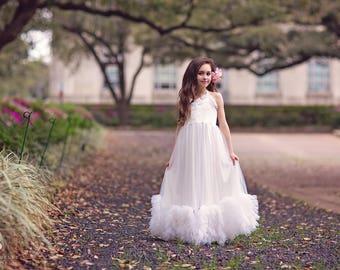 First Communion Dress, Boho Flower Girl Dress, Maxi Dress, Girls White Tulle Dresses, Princess Dress, Christmas Dress, Lillianna
