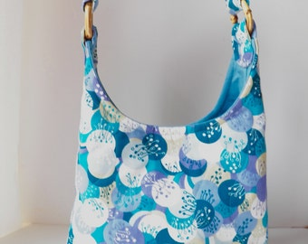 Hobo Shoulder Bag Purse Liberty of London Print in Purple Blue Green and Cream