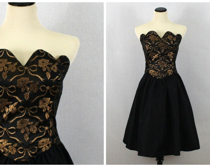 Black and Gold Full Skirt Party Dress - Gunne Sax 80s Prom Dress - Vintage 1980s Short Black Strapless Cocktail Dress Size Small