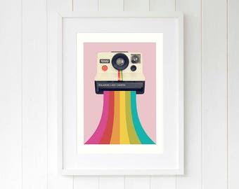 Camera gift for daughter pink wall art prints Retro birthday gift for girlfriend Photography gift for friend Cool home decor gifts for her