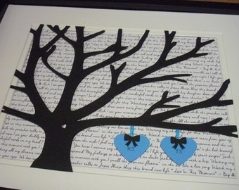 First Dance Lyrics 11X14 Unframed 3D Paper Tree Wedding Gift, Anniversary, Wedding Song Lyrics