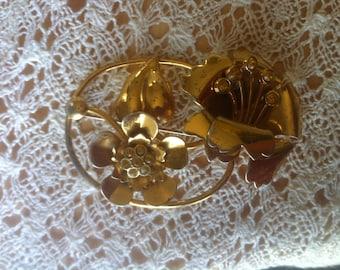 Vintage Brass Flower Pin Brooch