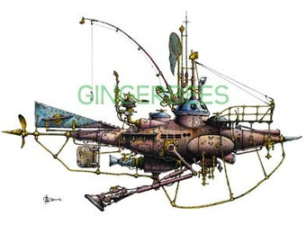 "5 of 12 Fanciful Submarines, Giclee Print on Fine Art Smooth Paper(16""x12"")"