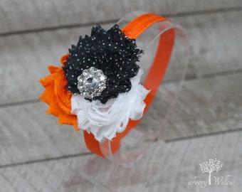 Orange Black and White Halloween Headband - Halloween Bow - Orange and Black Headband - Baby Headband - Adult Headband