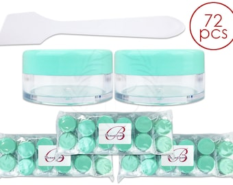 72 Piece 10 Gram 10 ml Plastic Round Clear Container Jar with Light Teal Lids & Spatulas - Sample Cream Lip Balm Hand Butter Salve Ointment