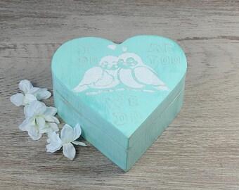 Mint Green Heart  Ring Bearer Box, Wedding Ring Bearer Pillow, We Do Pillow Aternative, Personalized Ring Box, Birds