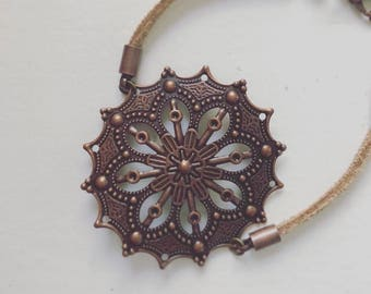 Filigree Copper Bracelet Flower Leather Strap Boho Bracelet Hipster Bracelet Copper Flower Bracelet Leather Bracelet Metal Flower Copper