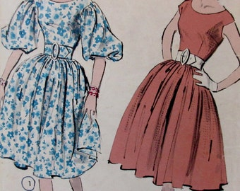 Advance  Vintage 1950s Womans  One Piece Full Skirt Misses Party Dress  Sewing Pattern Advance #8984  Size 12 ** Epsteam