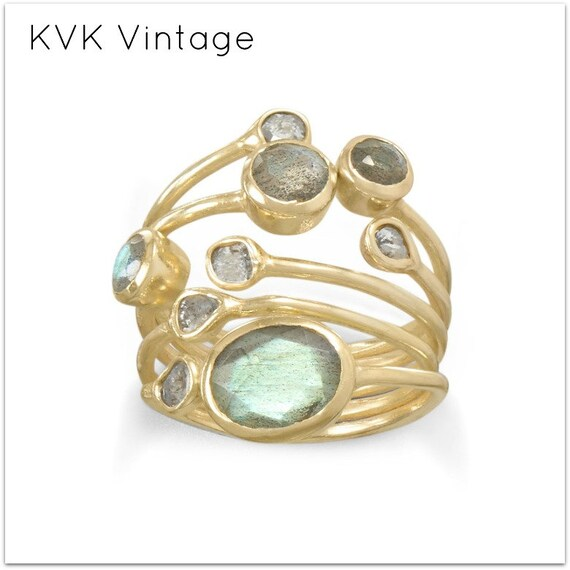 14 Karat Gold Plated Polki Diamond and Labradorite Multi-row Stacked Ring